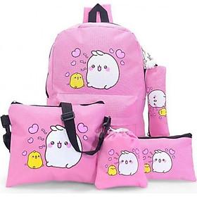 Bộ 5 món gồm balo đi học + túi đeo chéo nữ + ví nữ + hộp bút + ví rút (Hồng)