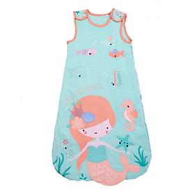 Túi ngủ 3 lỗ chất cotton lót bông màu xanh hình nàng tiên cá cho bé