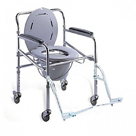 Ghế bô vệ sinh có bánh xe, để chân