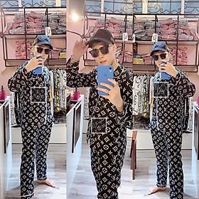 ĐẸP XUẤT SẮC Bộ Đồ Ngủ Dài Tay Chất Kate Bộ Pijama Lụa Dài Tay Phù Hợp Cả Nam Và Nữ