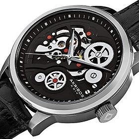 Akribos XXIV Men's Skeleton Watch - Mechanical Automatic Dial On Alligator Embossed Genuine Leather Strap - AK538