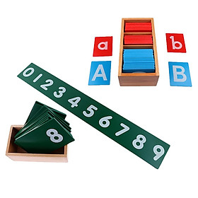 Wooden Montessori Sand Alphabets Board+0-9 Sand Number Puzzles Kids Toy Gift - intl