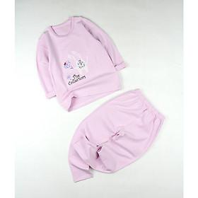 Bộ thun hồng nhạt in thỏ trắng cho bé gái 0.5-5 tuổi từ 6 đến 20 kg 02765-02768