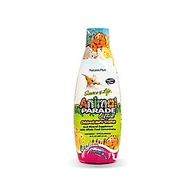 NaturesPlus Animal Parade Source of Life Children's Liquid Multivitamin - Tropical Berry Flavor - 30 fl oz - Whole Food Supplement - Vegetarian, Gluten-Free - 60 Servings