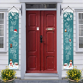 1 Pair Merry Christmas Banners 2020 Christmas Decoration for Home Door Ornaments