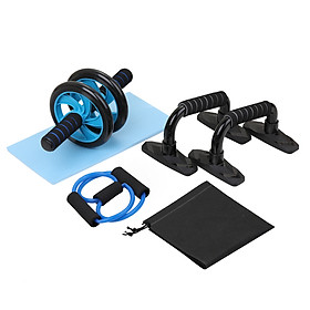 4-in-1 AB Wheel Roller Kit Spring Exerciser Abdominal Press Wheel Pro with Push-UP Bar Knee Pad Portable Equipment for