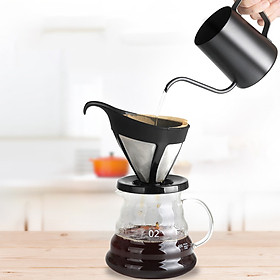 Pour Over Coffee Maker Set Kit Includes 350ml Gooseneck Kettle 600ml Coffee Dripper Brewer 30PCS V-Shaped Paper Coffee