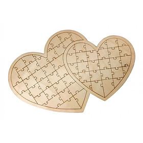 Creative Double Heart Shape Puzzle Jigsaw Guest Book Wedding Decor 61 Pieces