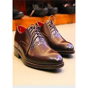 Giày tây patina da bò ý nhập cao cấp lót da siêu mềm màu nâu