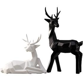 Cặp tượng hươu trắng hươu đen bằng sứ với thiết kế origami độc đáo