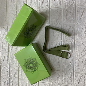 Bộ 2 gạch tập và 1 dây yoga cotton