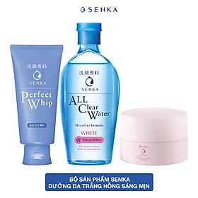 Bộ sản phẩm Senka dưỡng da trắng hồng sáng mịn (Nước tẩy trang White 230ml + SRM Senka Perfect Whip 120g + Kem trắng da ban đêm Senka 50g)
