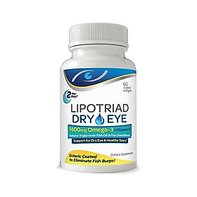 Lipotriad Dry Eye Formula - 1400mg Omega-3 Supplement – With Natural Triglyceride Fish Oil + Organic Flax Seed and Vitamin E - Support for Natural Tear Production