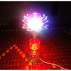 Đèn LED xoay 360 độ đổi màu đài hoa sen để bàn thờ tổ tiên KM-2005