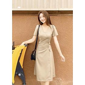 Đầm cổ v nút dừa thắt eo