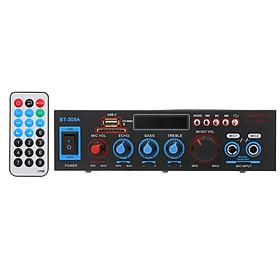 12V / 220V Mini Audio Power Amplifier BT Digital Audio Receiver AMP USB SD Slot MP3 Player FM Radio LCD Display Dual