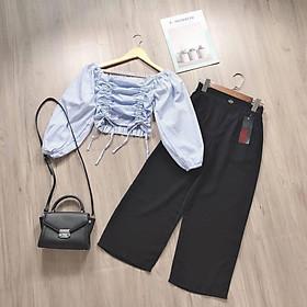 Áo nữ kiểu Croptop phối 2 dây rút eo