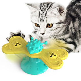 Windmill Cat Toy Interactive Cat Toy Turntable Cat Molar Toy Scratching Tickle Toy with Catnip