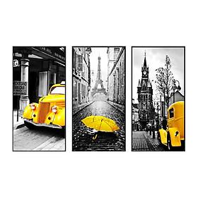 Hình đại diện sản phẩm Bộ Ba Tranh Nghệ Thuật Tương Phản Paris TB62 (30 x 65 cm)