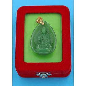 Hình đại diện sản phẩm Mặt dây chuyền Dược Sư Lưu Ly Quang Vương Phật đá Obsidian xanh 4 cm MXDS9 kèm hộp nhung