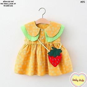 Đầm váy cho bé gái chất đũi kèm túi dâu cho bé từ 8kg đến 20kg