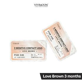 Kính Áp Tròng Hàn Quốc Nâu Tây Trong Veo Cho Mắt Thở 3 Tháng Vivimoon - Love Brown