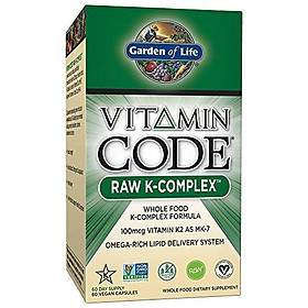 Garden of Life Vitamin K - Vitamin Code Raw K Complex Whole Food Vitamin Supplement, Vegan, 60 Capsules