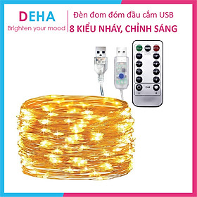 Dây đèn led đom đóm DEHA trang trí nguồn USB kèm điều khiển 8 chế độ nháy vàng nắng