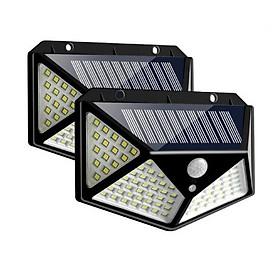 Combo 2 đèn năng lượng mặt trời cảm biến chuyển động 100 bóng LED, (đèn chống nước, 3 chế độ sáng, dùng chiếu sáng sân vườn, lối đi ngoài trời...)