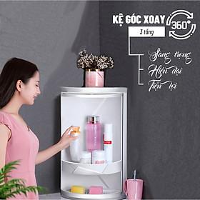 Kệ góc nhà tắm kệ góc 3  tầng chống nước tuyệt đối , Kệ xoay góc tường nhà tắm, Nhựa PVC thân thiện với môi trường