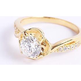 Nhẫn bạc nữ đẹp mạ vàng 18k đóa hoa hồng gắn đá sáng đẹp Gix Jewel N62