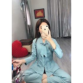 Áo Lam Đi Chùa - La Hán Nơ Màu Xanh Thạch