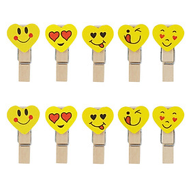 Bộ kẹp gỗ trái tim emoji
