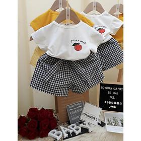 Bộ đồ coton tàu quần giả váy thô kẻ cho bé gái size 7-22kg(hàng đổ shop)