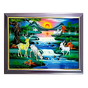 Tranh sơn mài  tranh phong thủy Tùng lộc SM00009 60x40cm