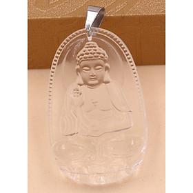 Mặt dây chuyền Phật Bản Mệnh 12 Con Giáp Pha Lê Trắng móc inox - Mang lại may mắn, bình an