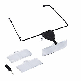 Handsfree Headset LED Magnifier Magnifying Glasses With 3 Replaceable Lens