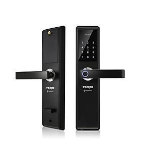Khóa cửa điện tử VICKINI 39888.001 OBP đen mờ. Mở bằng Vân tay, mật mã, thẻ từ, chìa cơ. Hàng chính hãng