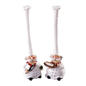 Set of 2 Lovely Resin Chef Figurines Coffee Shop Bar Figurine Collectible Gifts