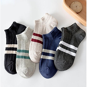 Hengyuanxiang socks men's boat socks thin section cotton low to help shallow mouth socks sports breathable sweat-absorbent casual socks sports stripes section 39-44 yards