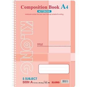 Sổ lò xo đơn A4 - 500 trang; Klong TP396 màu hồng