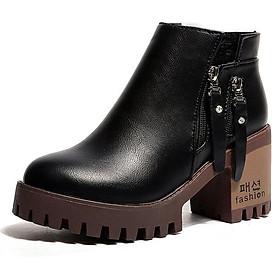 Giày boot cao gót kéo khóa zip phong cách trẻ trung dành cho nữ