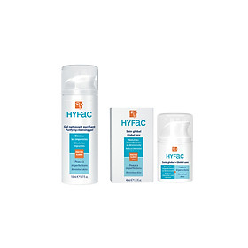 Bộ đôi chăm sóc da mặt Sữa rửa mặt và Kem ngăn ngừa mụn Hyfac - Nhập khẩu từ Pháp