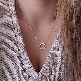 Dây chuyền mạ vàng mặt vòng tròn đơn giản cho nữ