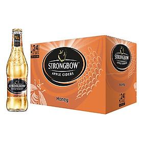 Thùng 24 Chai Nước Táo Lên Men Strongbow Honey - Vị Mật Ong (330ml / Chai)