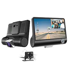 Camera hành trình ô tô 3 mắt Camera T03 (trước, trong, sau xe), Màn hình 4 inch FHD 1080P - Hàng nhập khẩu