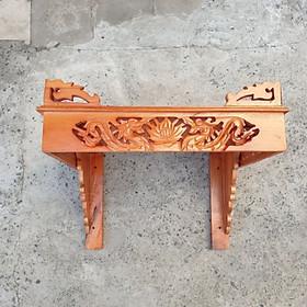Bàn thờ treo tường gỗ xoan trạm rồng ngang 40 cm gồm 1bộ ke đế