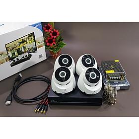 Bộ KIT Camera Dahua CVI vỏ nhựa: 1 đầu ghi + 4 mắt gắn trần Hàng chính hãng