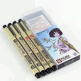 Bộ bút đi nét line viền 4 cây Sakura Micron XSDK 4P kháng nước đủ ngòi 01 03 10 BR chuyên nghiệp