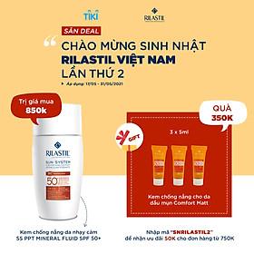 Kem Chống Nắng Nâng Tông Da, Ngăn Ngừa Nám, Sạm Da Rilastil Sun System Ppt Mineral Fluid Spf 50+  Giúp Da Săn Chắc Đàn Hồi 50ml